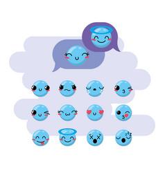 set kawaii emoji emotion design icon vector image vector image
