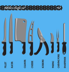 set number two kitchen knives vector image vector image