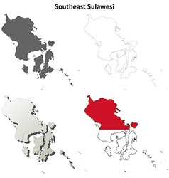 Southeast sulawesi blank outline map set vector