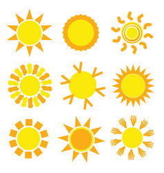 Sun set collection in yellow vector