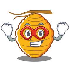 Super hero bee hive character cartoon vector