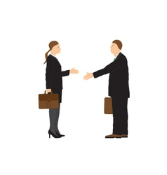 Two businessmen Man and woman Handshake vector image vector image