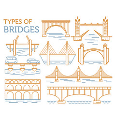 Types of bridges linear style ison set possible vector