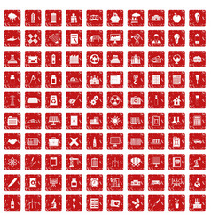 100 company icons set grunge red vector