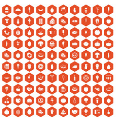 100 food icons hexagon orange vector image vector image
