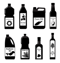 Set black icons of oil for frying vector