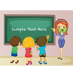 Teacher and students in classroom vector image