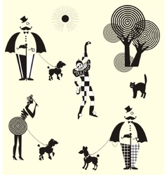 Fun walk gentleman ladies and harlequin vector
