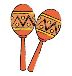Two maracas music instrument brasilian sketch vector