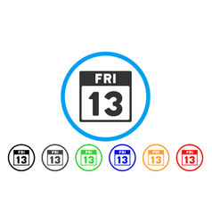 13 friday calendar page rounded icon vector image