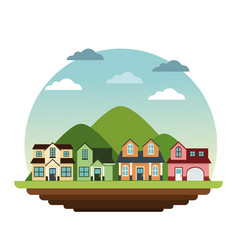 suburban houses neighborhood mountain landscape vector image