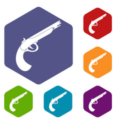 Gun icons set hexagon vector