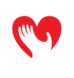 Heart with hand symbol sign icon logo template vector