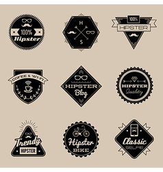 Hipster emblems brown vector