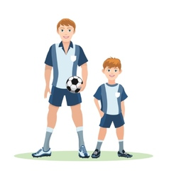 Father and son soccer team vector