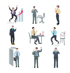 Successful businessman set vector