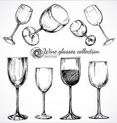 Wine glasses - sketch vector