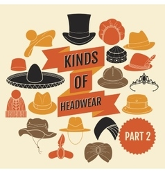 Kinds of headwear part 2 vector