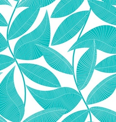 Turquoise and white tropical leaf seamless pattern vector