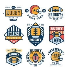 Set of rugby emblem in flat vector