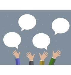 Businessman hands blank speech bubble vector