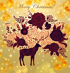Christmas with deer vector