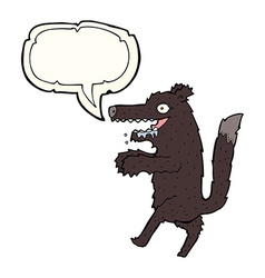 Cartoon big bad wolf with speech bubble vector