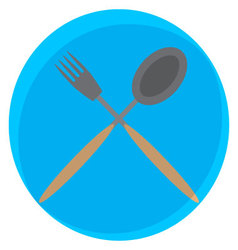 Spoon and fork crossed icon vector