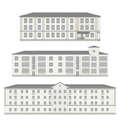 Set of detailed historical building facades vector