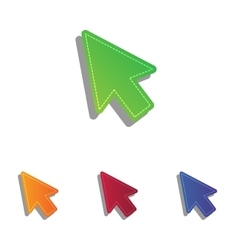 Arrow sign  colorfull applique icons vector