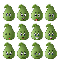 Avocado with different emoticons vector