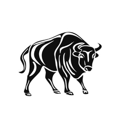 black silhouette of bull on white background vector image vector image