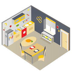 Bright isometric kitchen with furniture vector