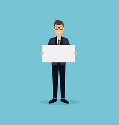 Business man giving presentation with white empty vector image vector image