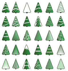 Christmas tree icon set vector