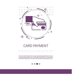 Credit bank card payment hold hand web banner with vector