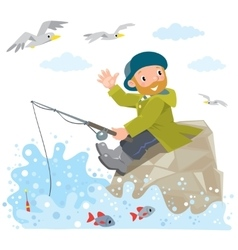Funny fisherman on a rock vector image