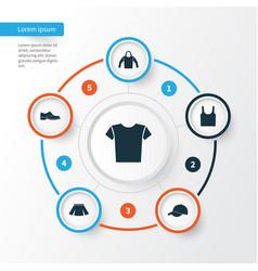 Garment icons set collection of sweatshirt vector