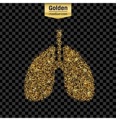 Gold glitter icon of breath isolated on vector