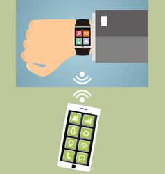 Hand with smart wristwatch and smart phone modern vector