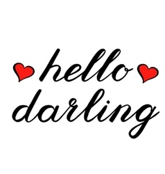 Hello darling brush lettering Cute handwriting vector image vector image