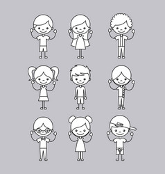 icons set happy kids vector image vector image