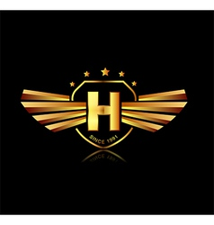 Letter H winged crests logo Alphabet logotype vector image