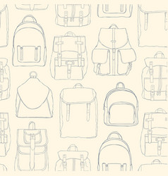 monochrome seamless pattern with backpacks or vector image vector image