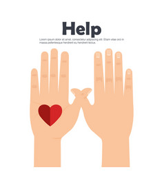 people hands with heart help vector image vector image