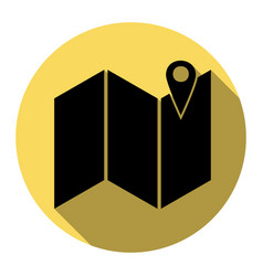 Pin on the map flat black icon with flat vector