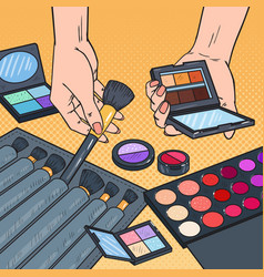 Pop art female hands with cosmetics make-up vector
