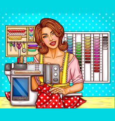 pop art woman tailor sews on a modern vector image