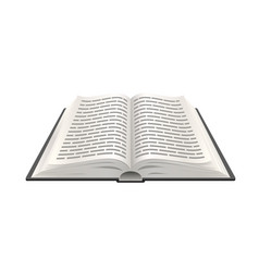 Realistic open book 3d paper object education vector