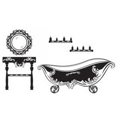 Rich baroque rococo bathroom set vector